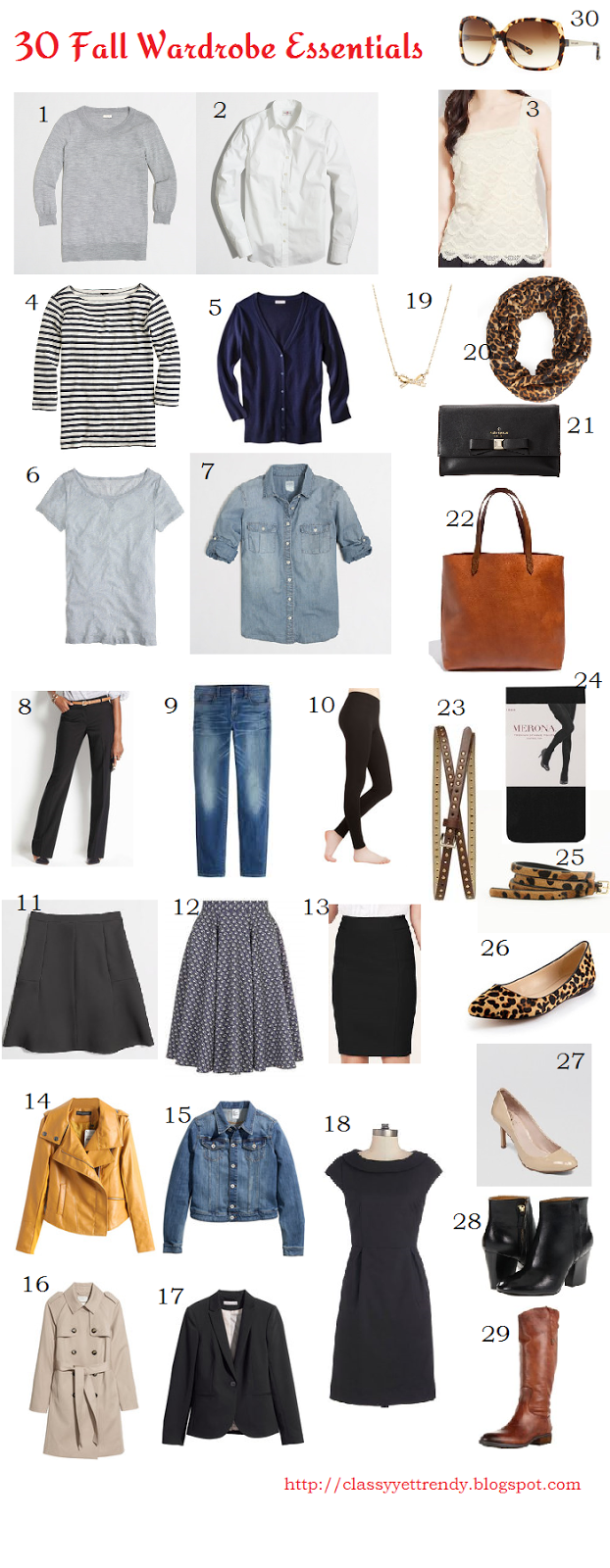 30 Fall Wardrobe Essentials