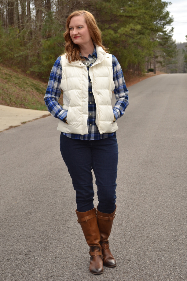 Trendy Wednesday Link Up #6: Blue Plaid + White Puffer Vest