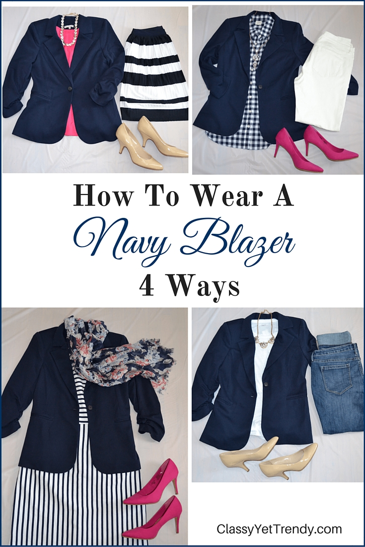 how to wear a navy blazer 4 ways