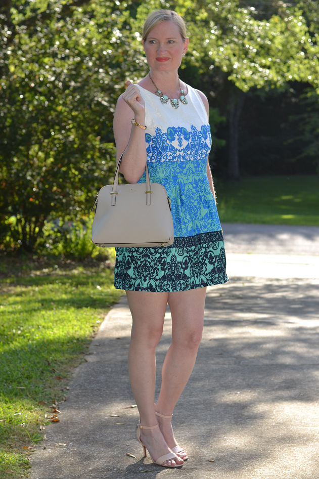 Trendy Wednesday Link Up #28: Blue Jacquard Dress & Guest Feature!
