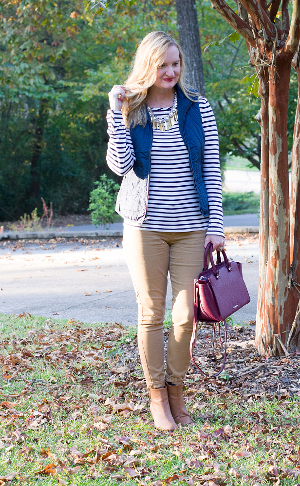 Trendy Wednesday Link-up #45: Blue Vest and Stripes