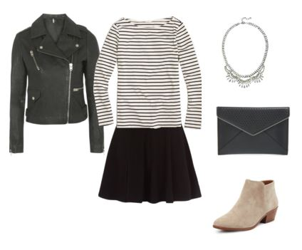 19 leather jacket - striped top - black skirt