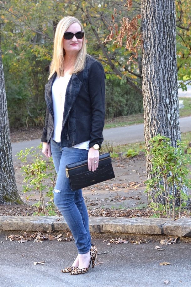 Trendy Wednesday Link-up #48: Moto Jacket and Leopard Heels