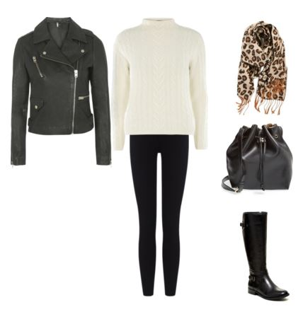 18 leather jacket - ivory sweater - leggings