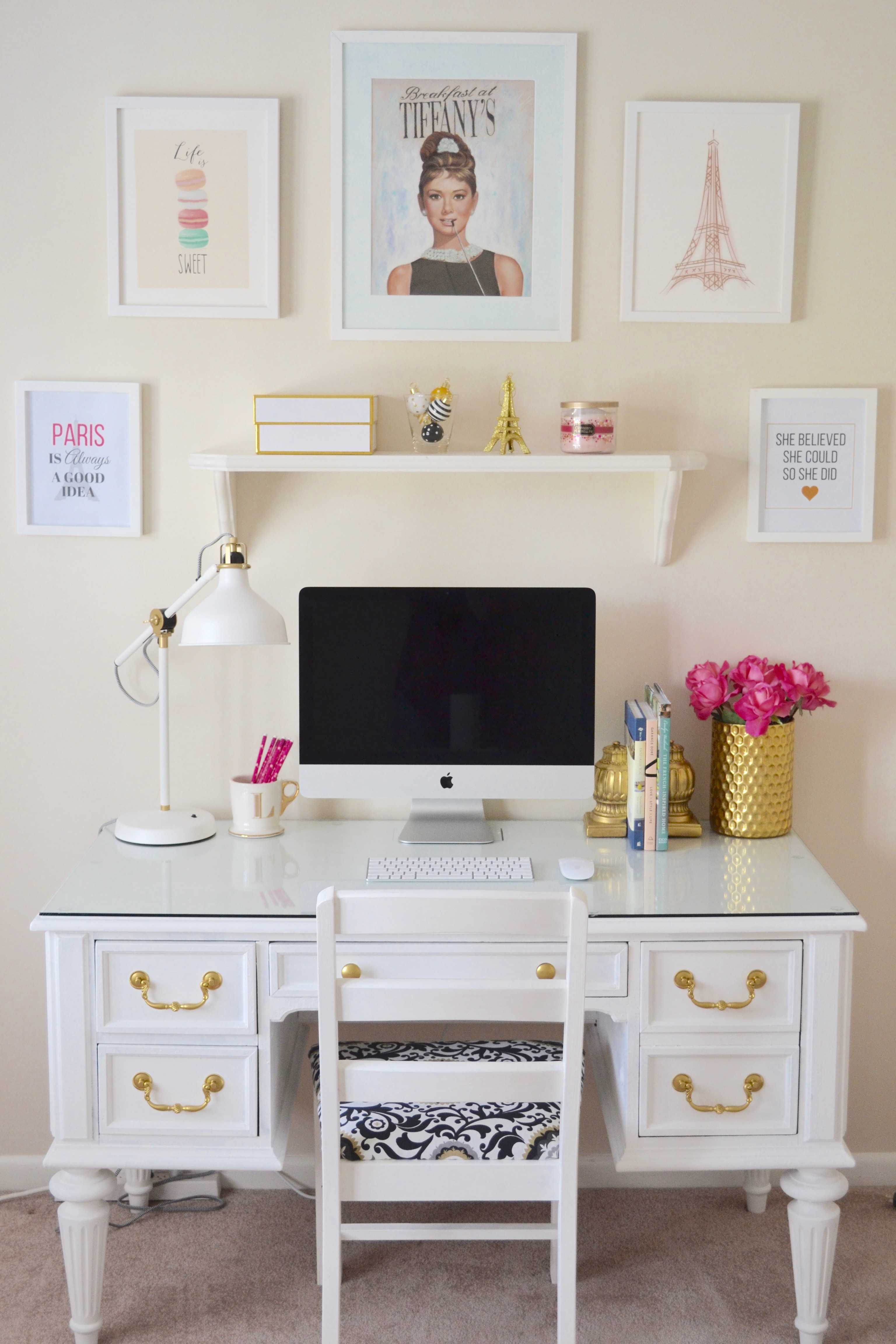 chalk paint white desk chic inspirational office 1