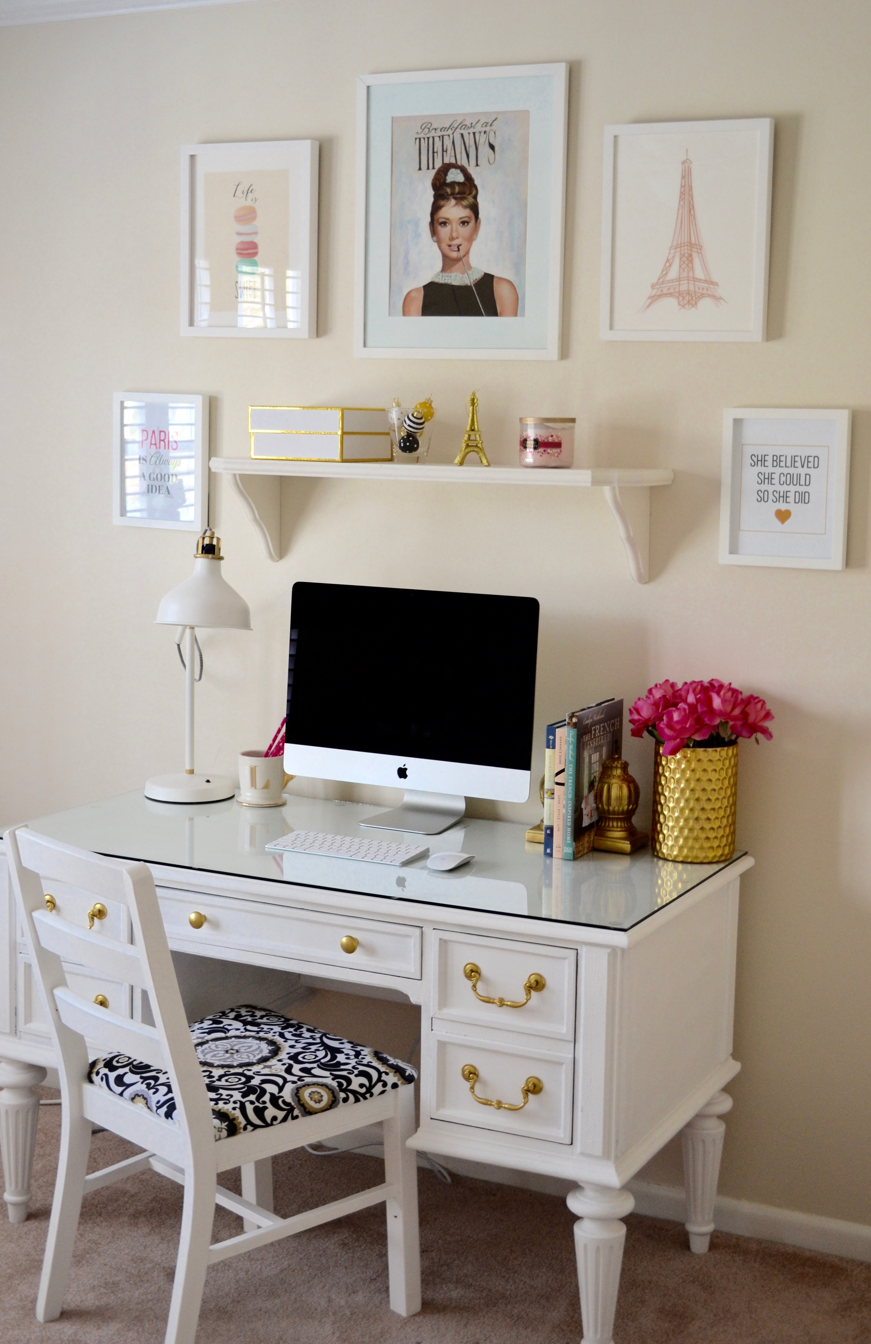 chalk paint white desk chic inspirational office 8