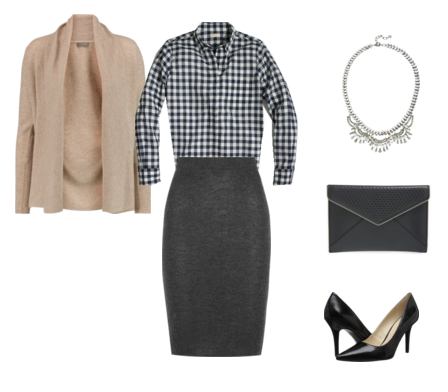 gingham shirt - taupe cardigan - gray skirt