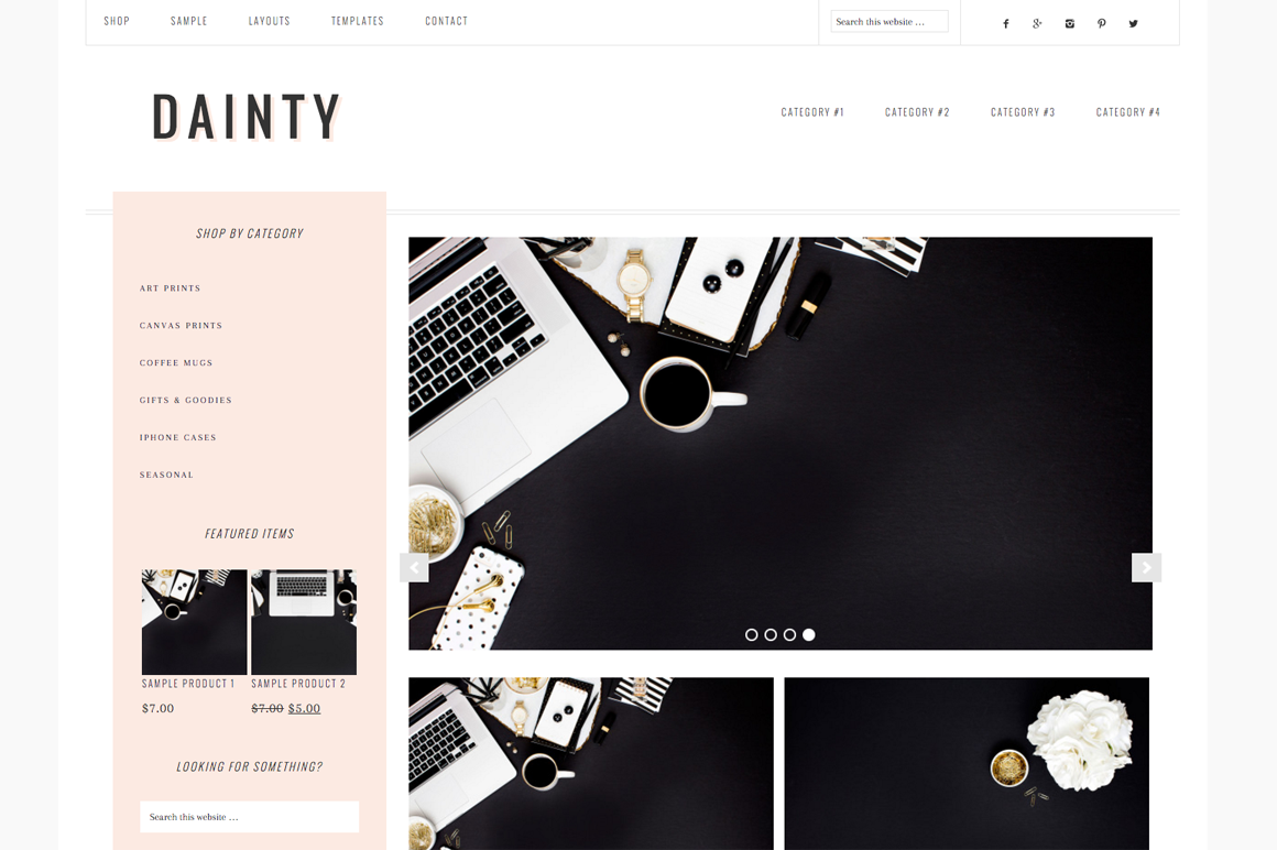 Dainty WordPress blog theme