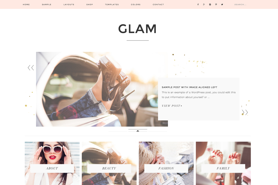 Glam WordPress blog theme