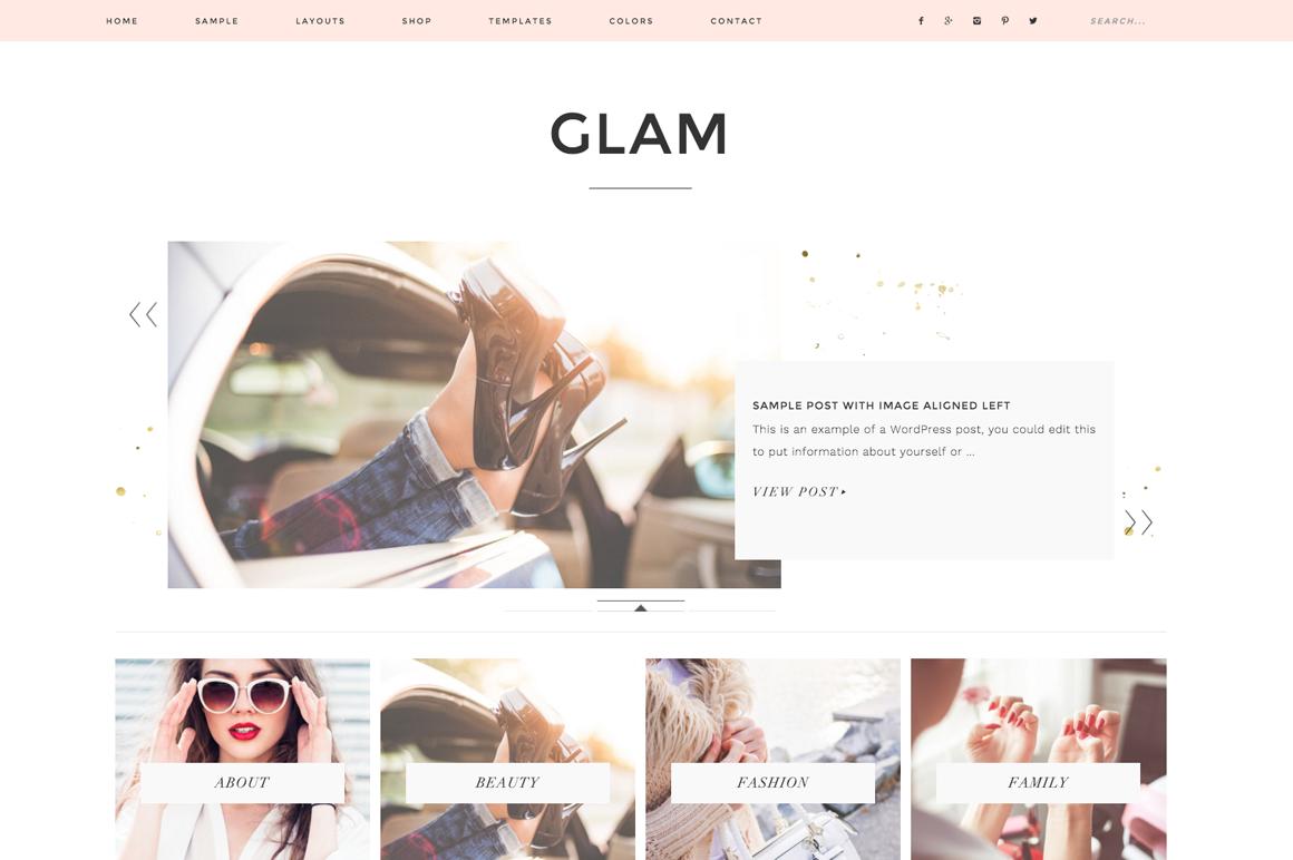 Glam WordPress blog theme