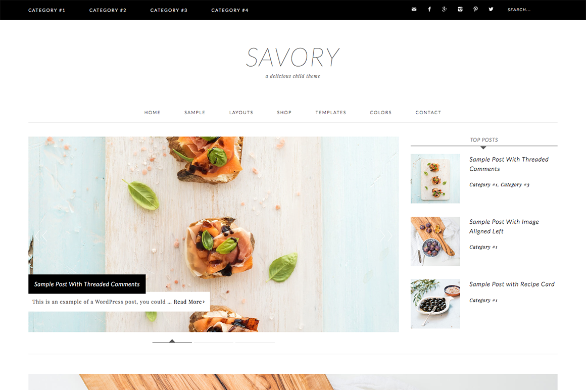 Savory WordPress blog theme