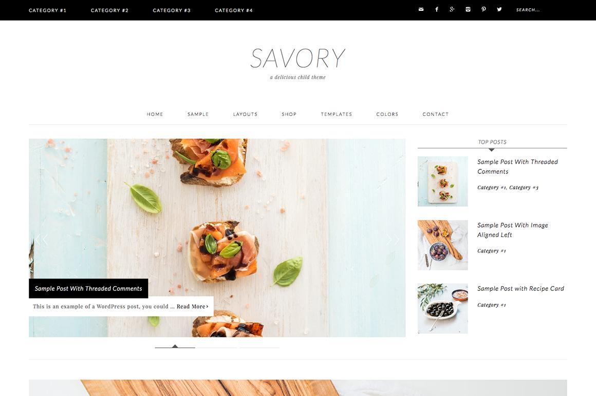 Savory WordPress blog theme