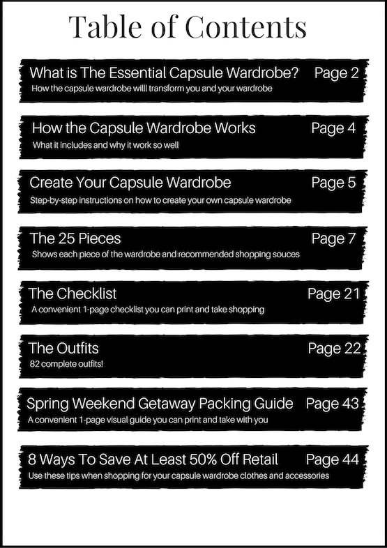 Table of Contents Spring 2016 Capsule Wardrobe EBook
