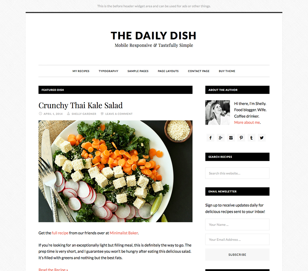The Daily Dish WordPress blog theme