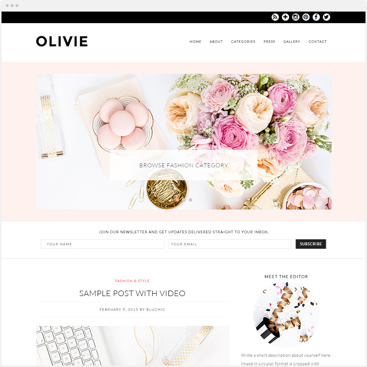 Olivie WordPress blog theme
