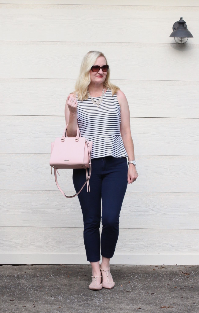 What I Wore To Work - Navy Stripes and Blush 1