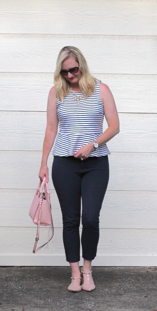 What I Wore To Work - Navy Stripes and Blush 2