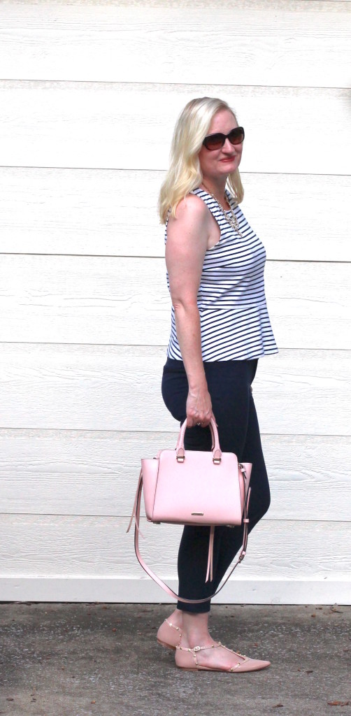 What I Wore To Work - Navy Stripes and Blush 4