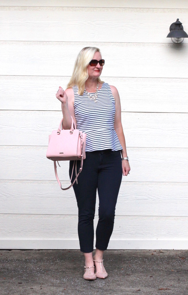 What I Wore To Work - Navy Stripes and Blush 5