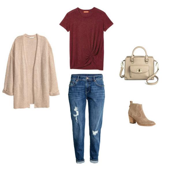 Slim Boyfriend Jeans, Cardigan, Ankle Boots