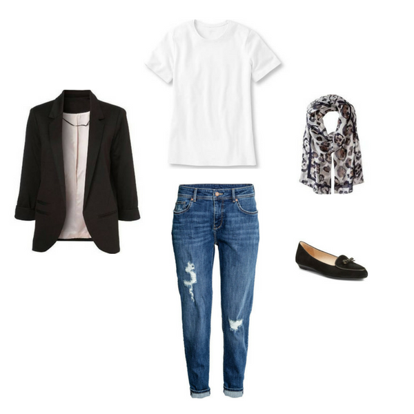 slim boyfriend jeans, black blazer, loafers, white tee