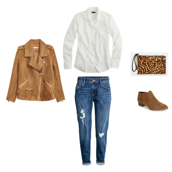 slim boyfriend jeans, suede jacket, white shirt, leopard clutch, brown booties