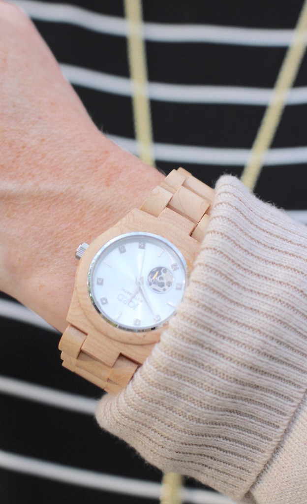 Stripes Taupe & A Wood Watch