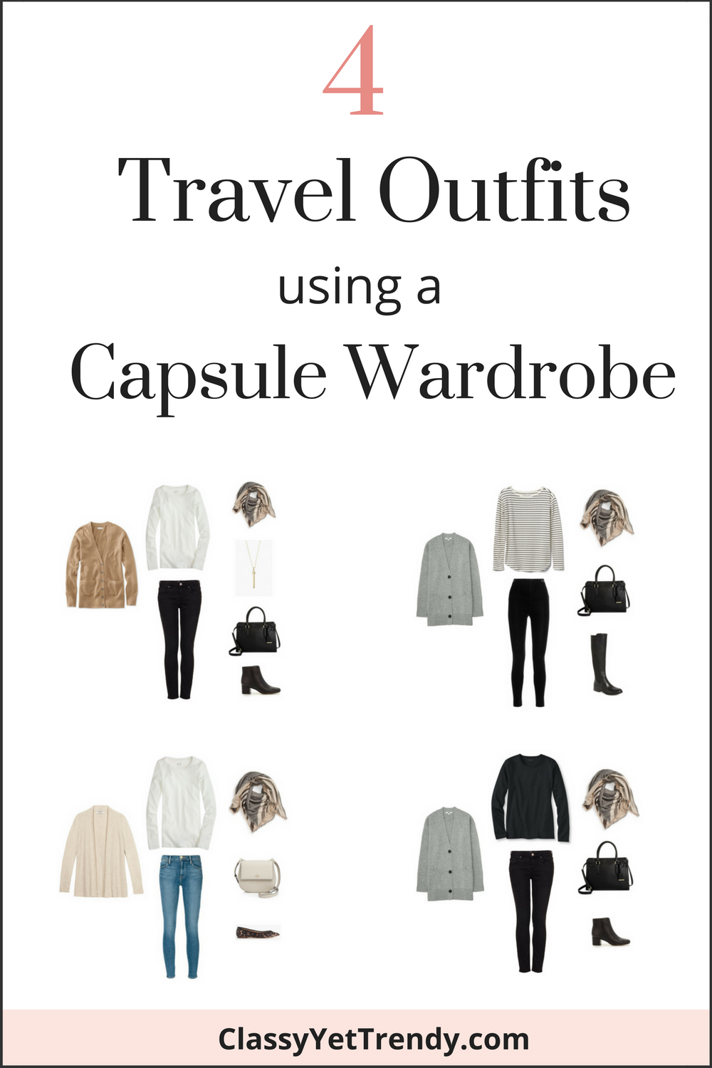 Capsule Wardrobe: 4 Travel Outfits Using A Capsule Wardrobe