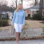 Blue, White and OTK Boots (Trendy Wednesday Link-up #107)