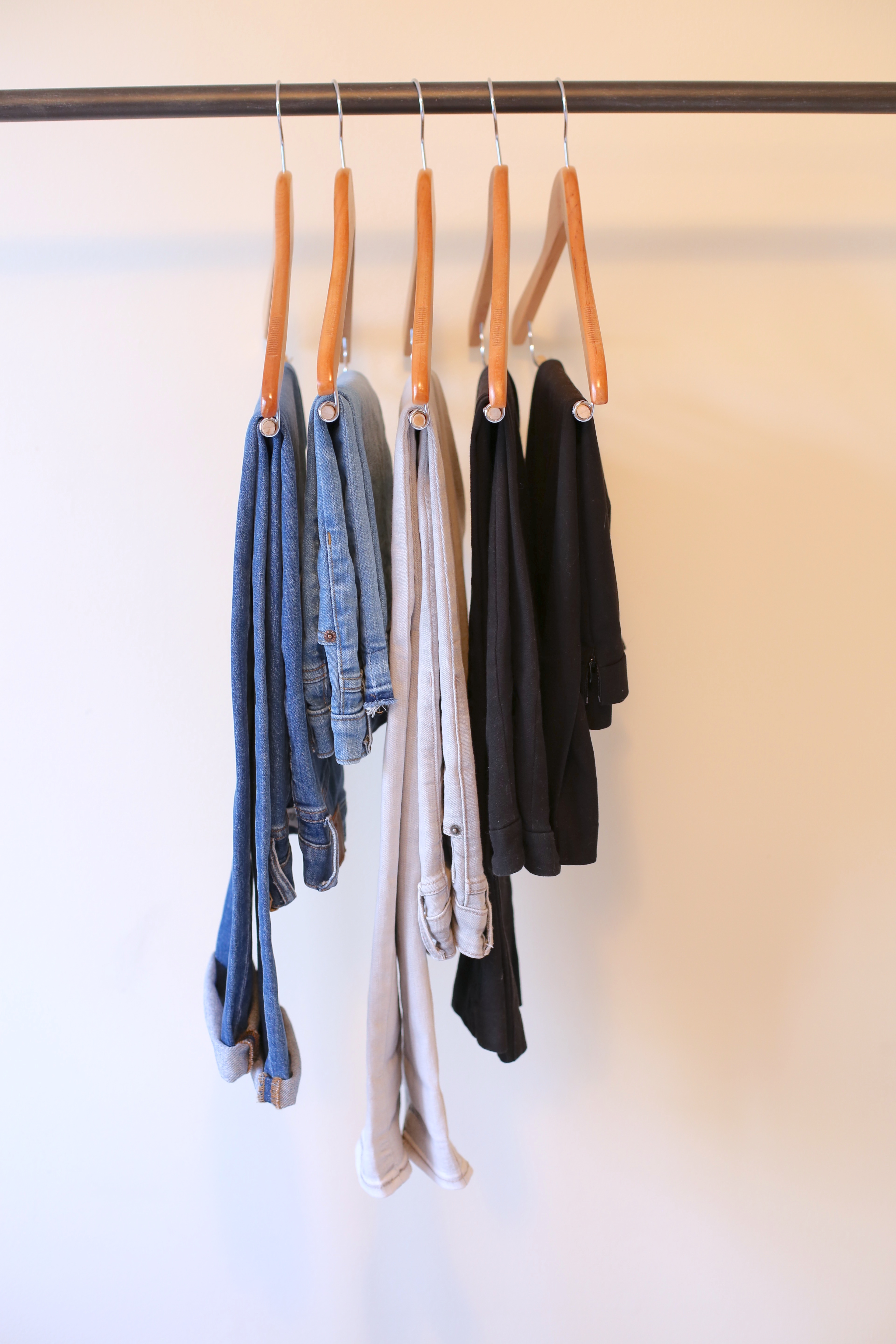 create a capsule wardrobe - neutral bottoms