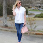 Frayed Hem Jeans and Central Shirt (Trendy Wednesday Link-up #115)