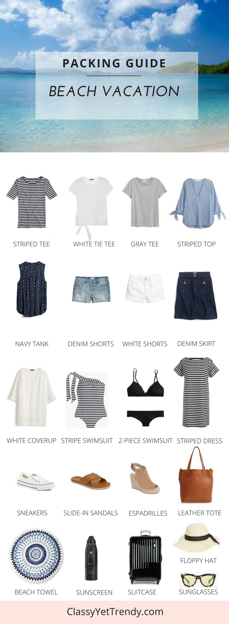 Packing List Guide - BEACH VACATION