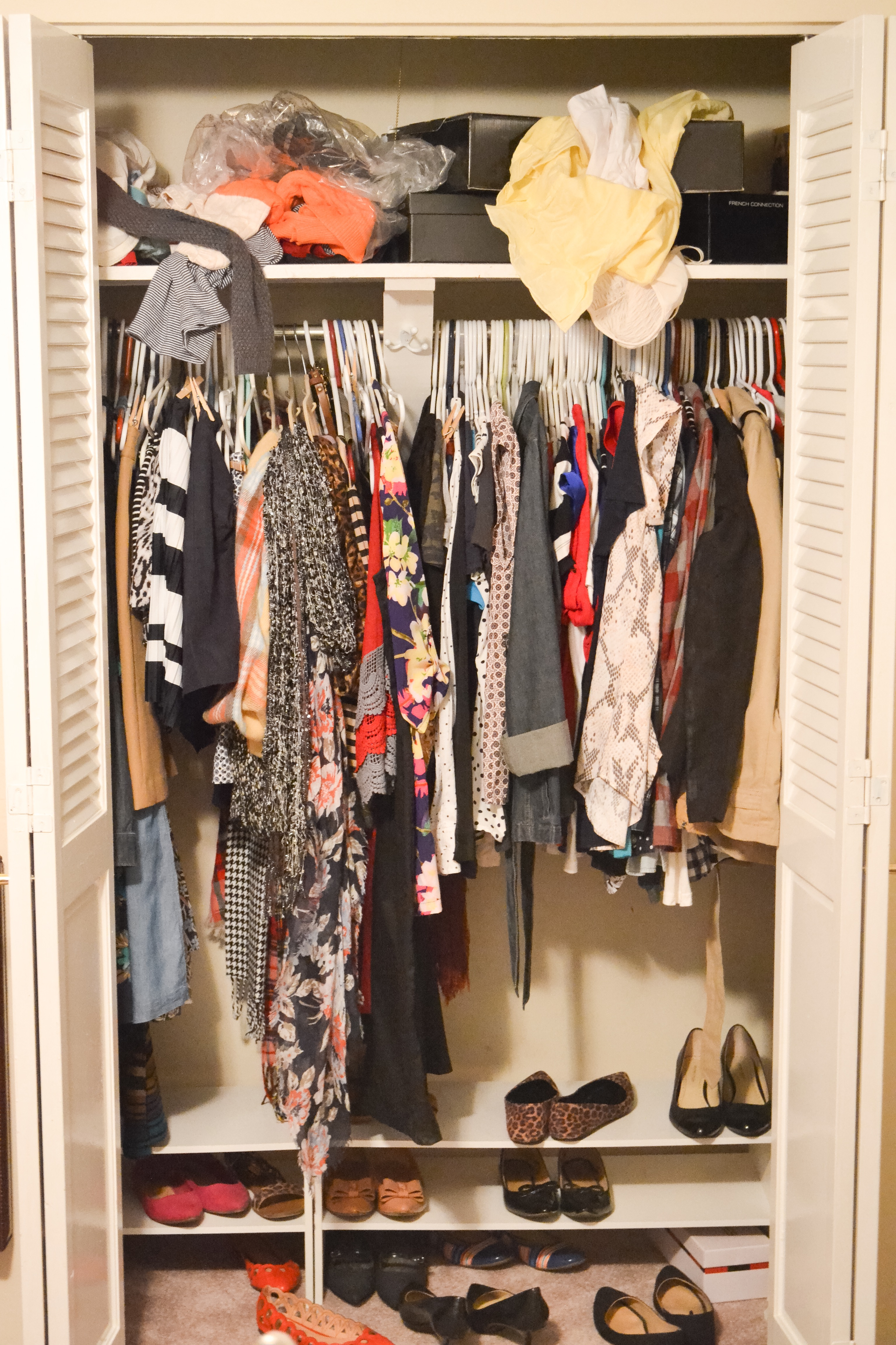 Cluttered Closet Before Starting a Capsule Wardrobe