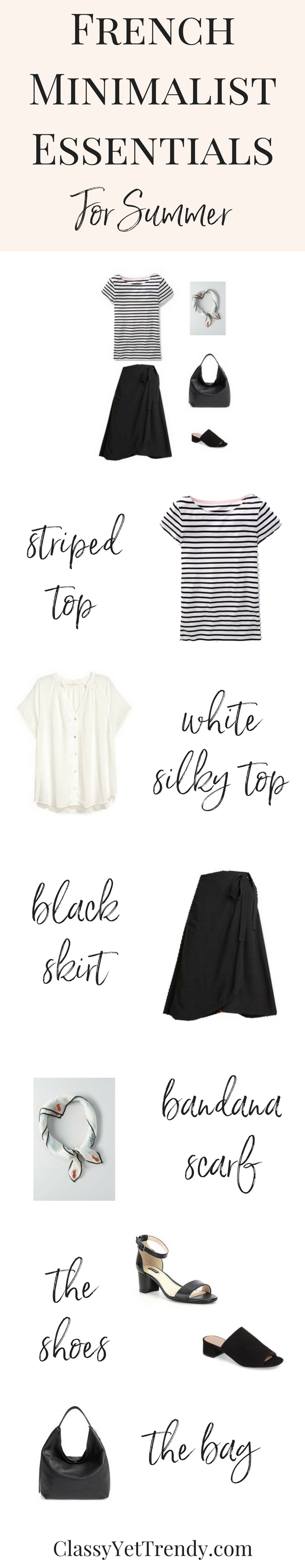 French Minimalist Essentials Clothes For Summer