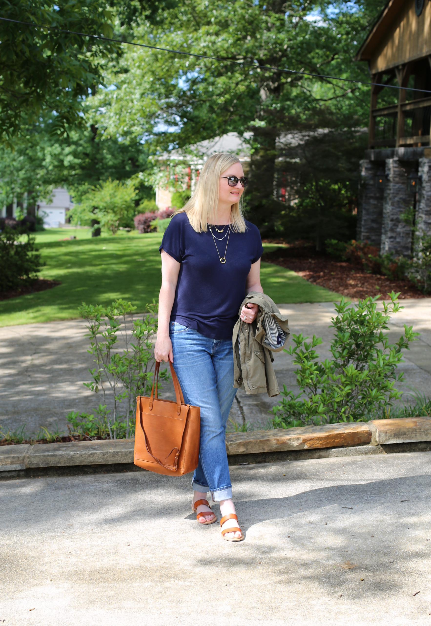 Navy and Cognac Brown Outfit