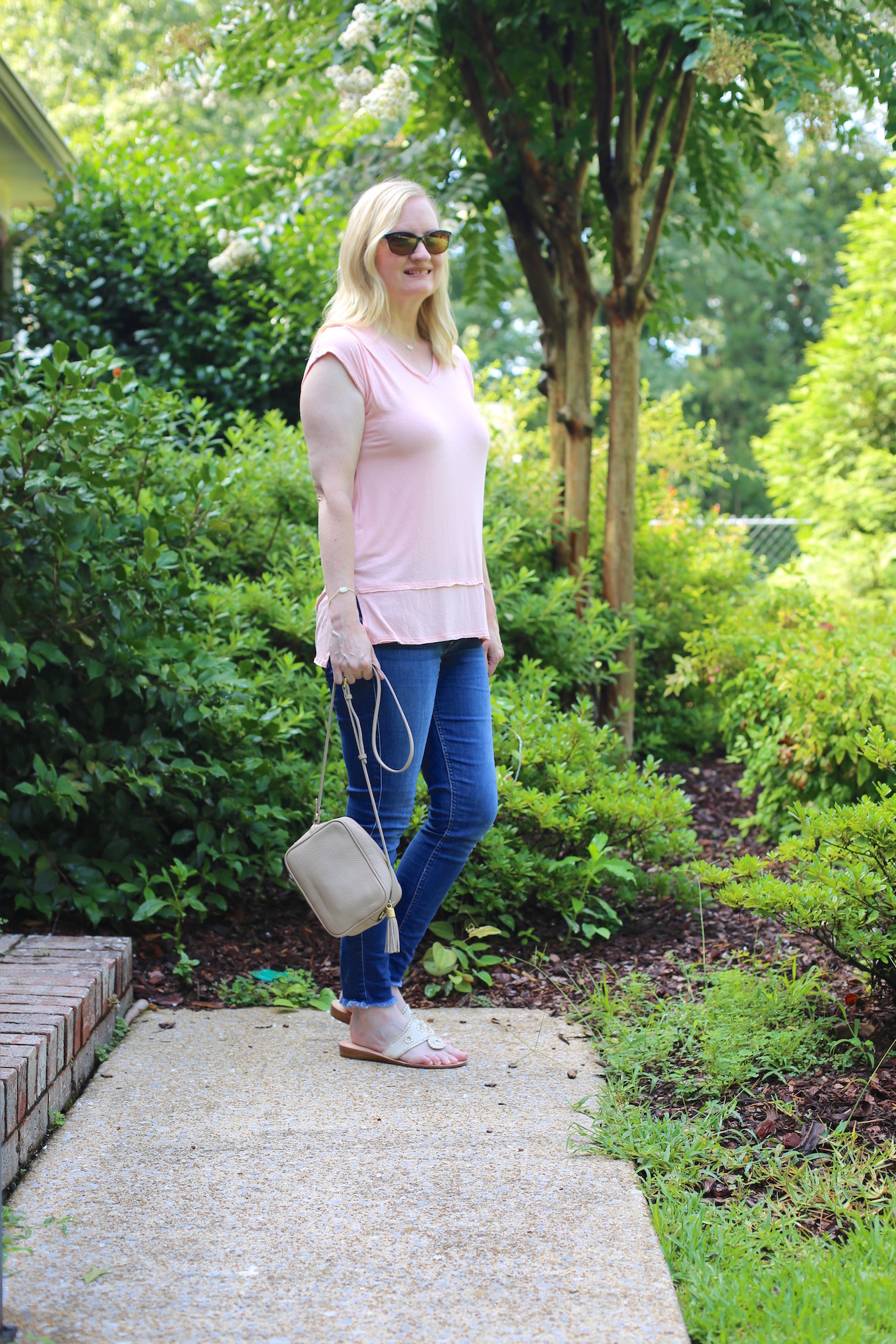Peach Top and Frayed Hem Jeans 2