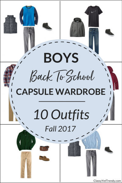 Boys Back To School Capsule Wardrobe: 10 Fall Outfits - Boy's Capsule Wardrobe - Fall 2017 - A NEW e-Book of the FALL season has been released and is the e-Book Store! With this Back To School collection, your son, grandson or nephew can get dressed quickly and look great! Just 20 clothes and shoes can make 100 outfit ideas. Includes a step-by-step guide to creating a boy's capsule wardrobe, a packing guide, a checklist and more. Transform a boy's closet so he can look fabulous!