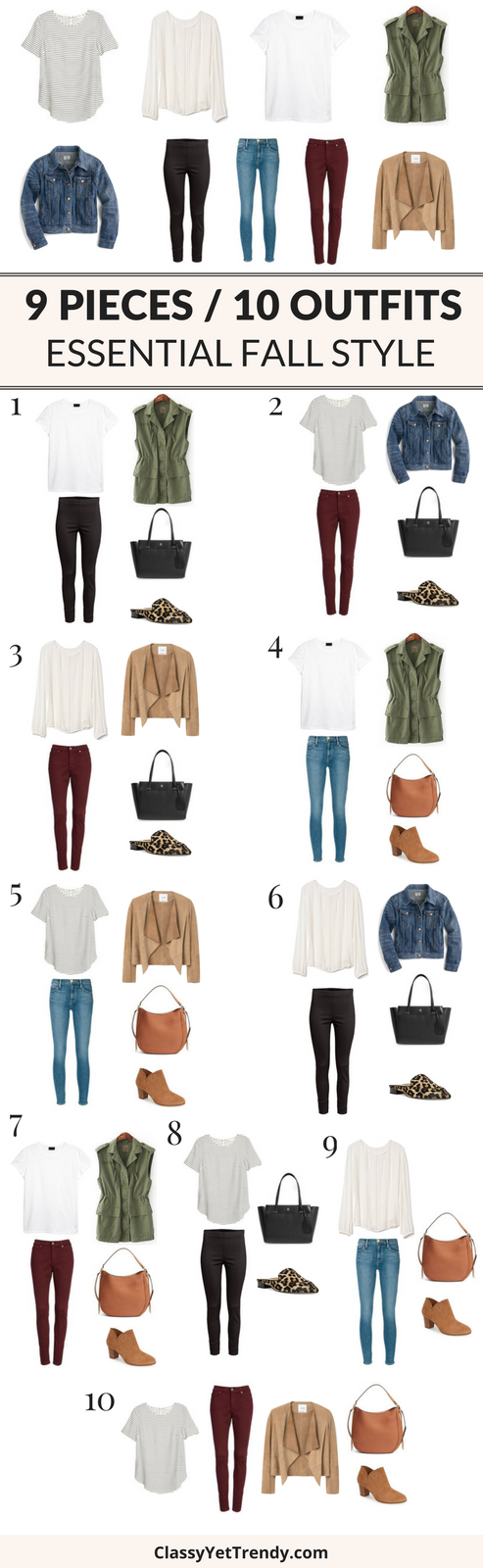 9 Pieces 10 Outfits (Essential Fall Style)