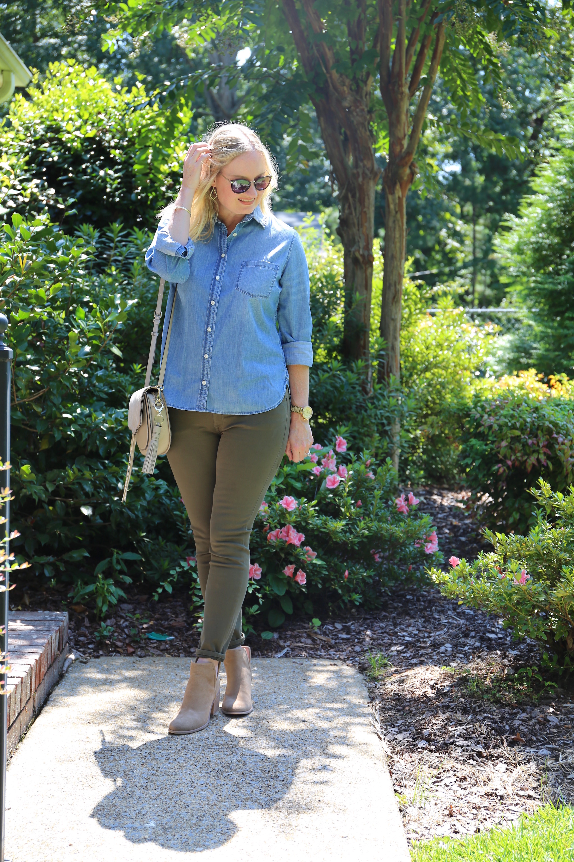 Chambray and Olive Jeans 1