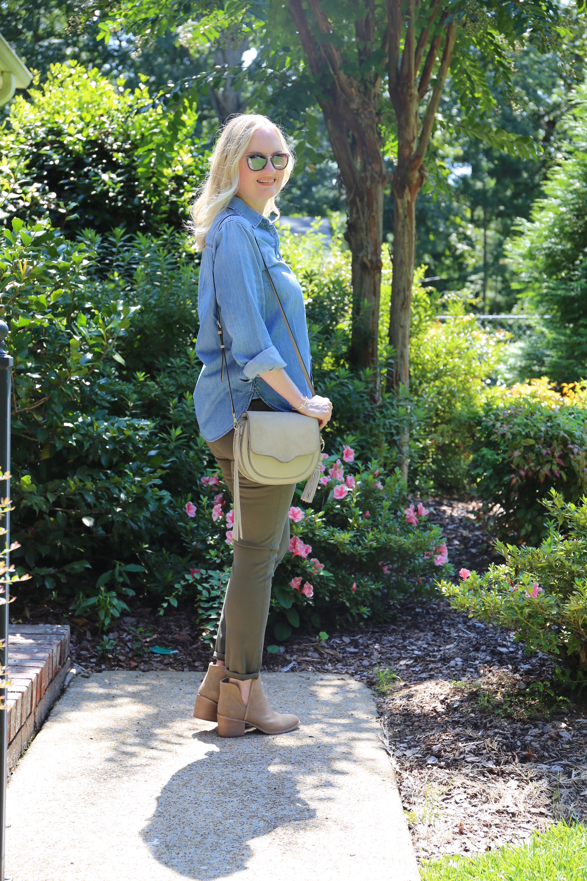 Chambray and Olive Jeans 2