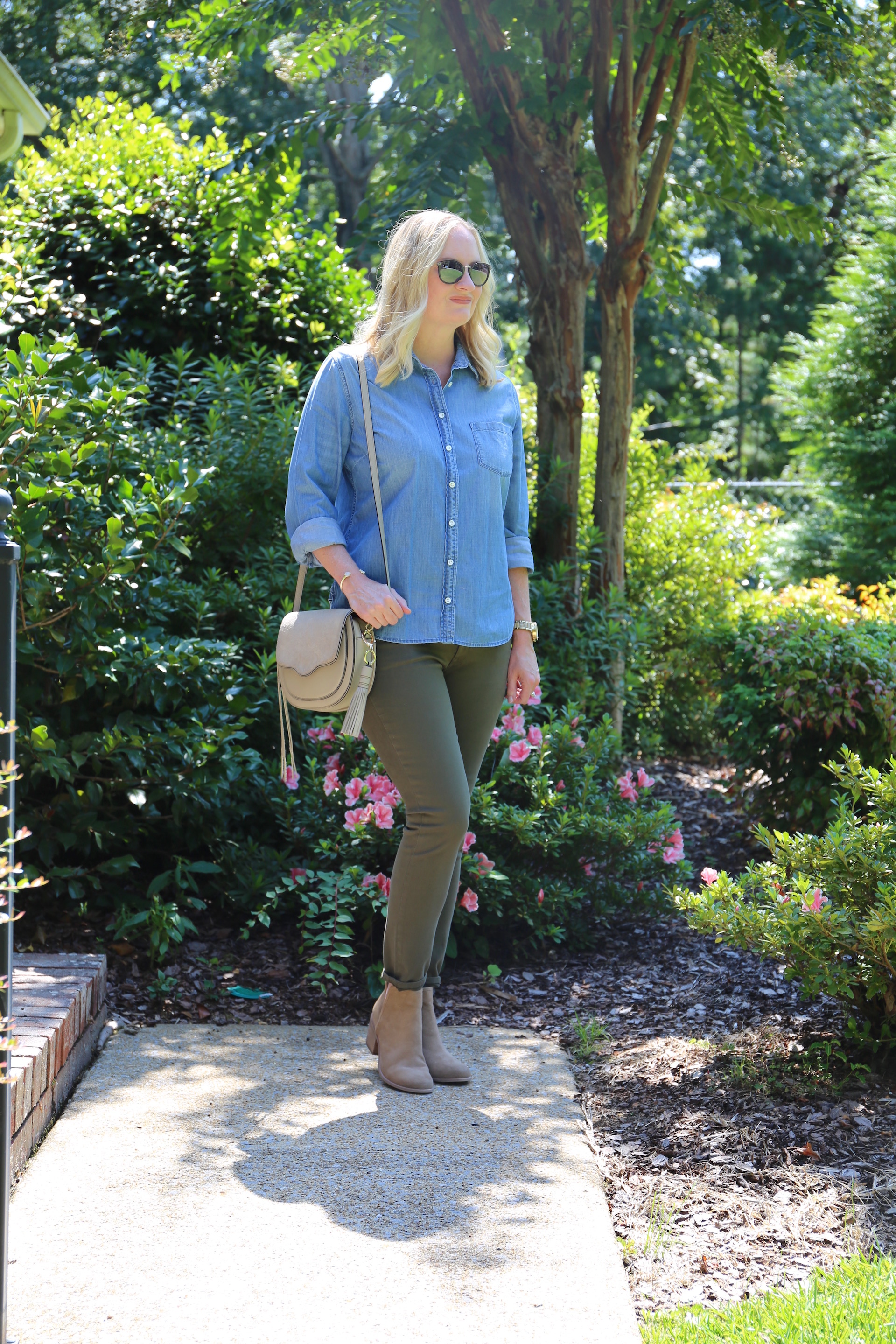 Chambray and Olive Jeans 3