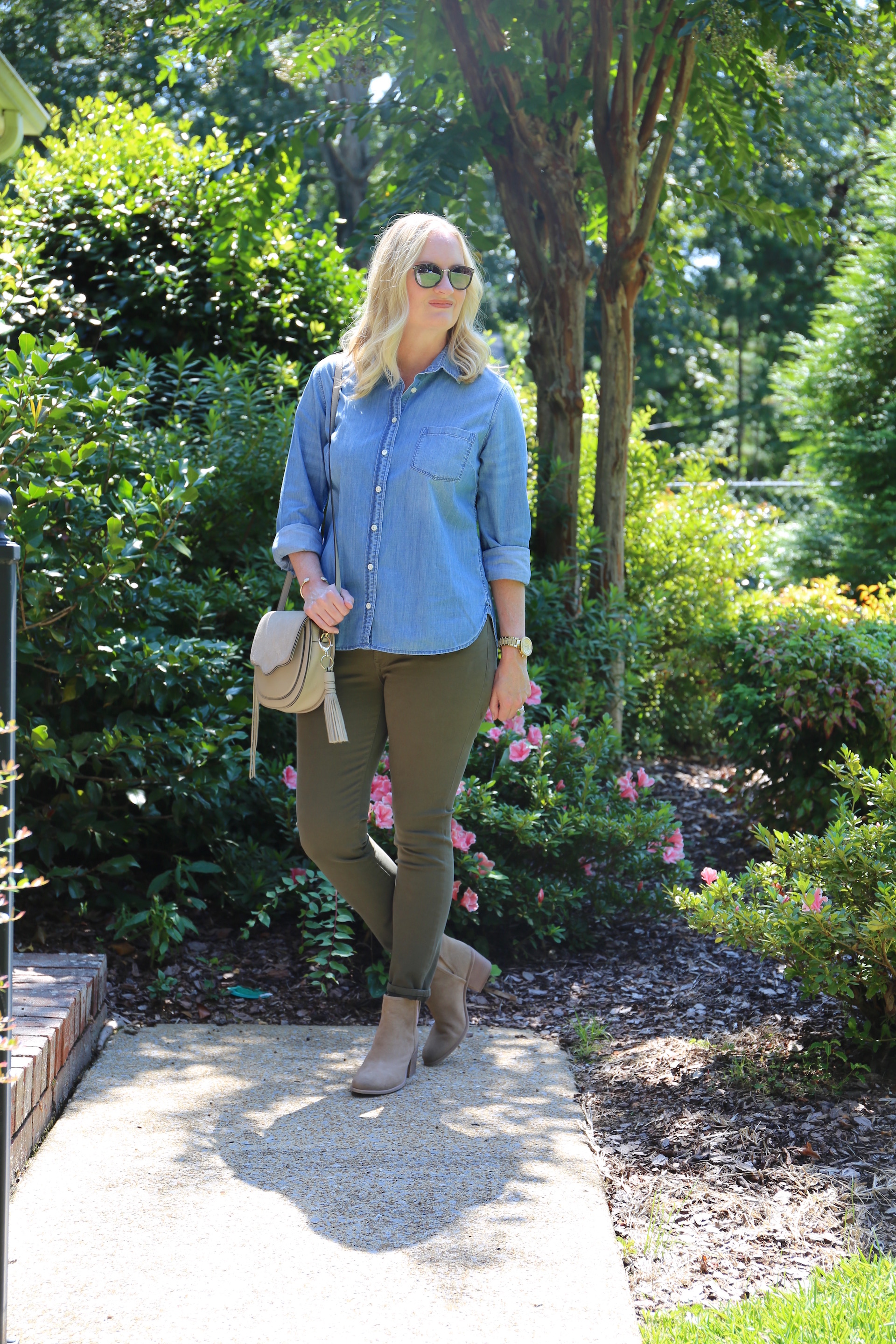 Chambray and Olive Jeans 4
