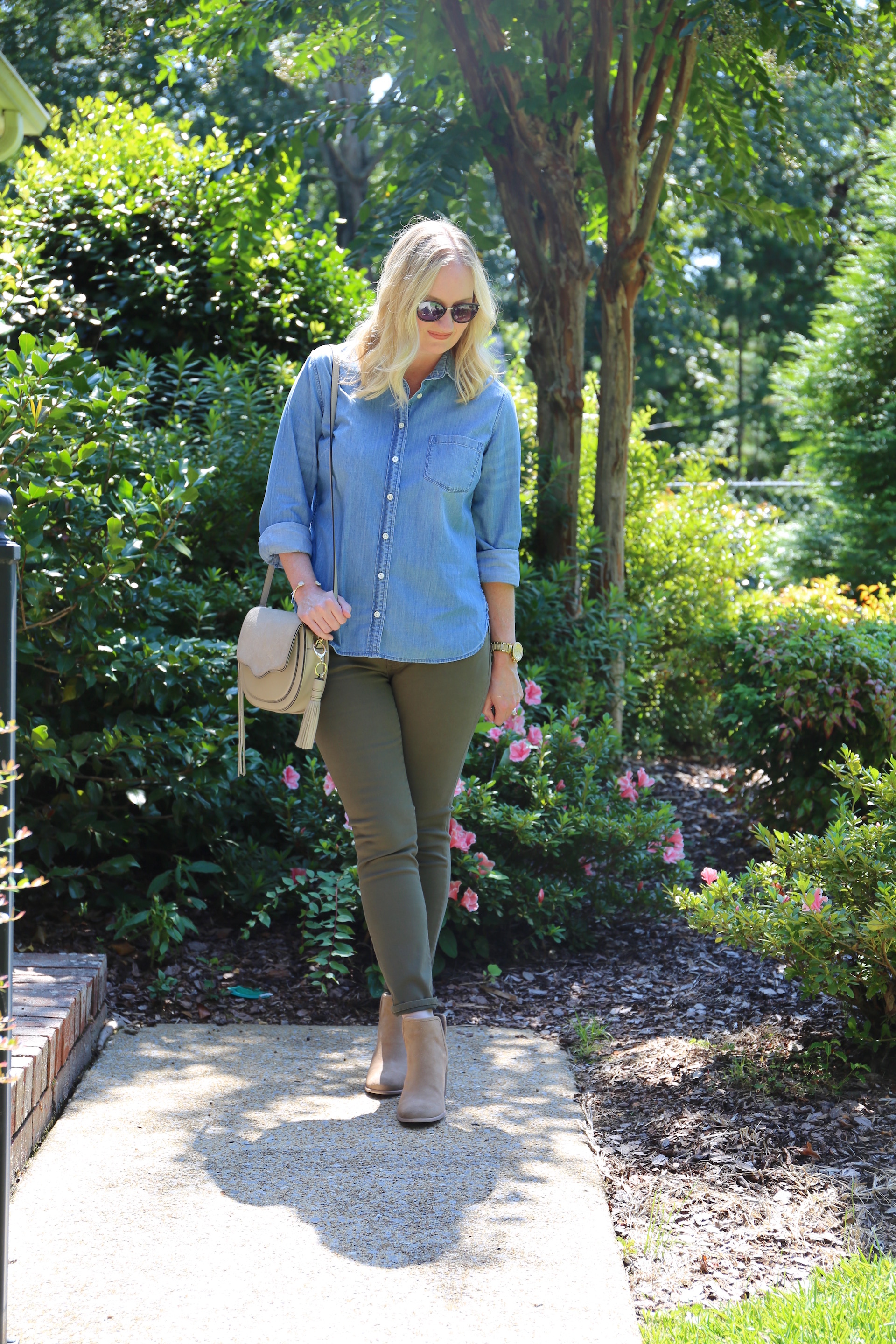 Chambray and Olive Jeans 5