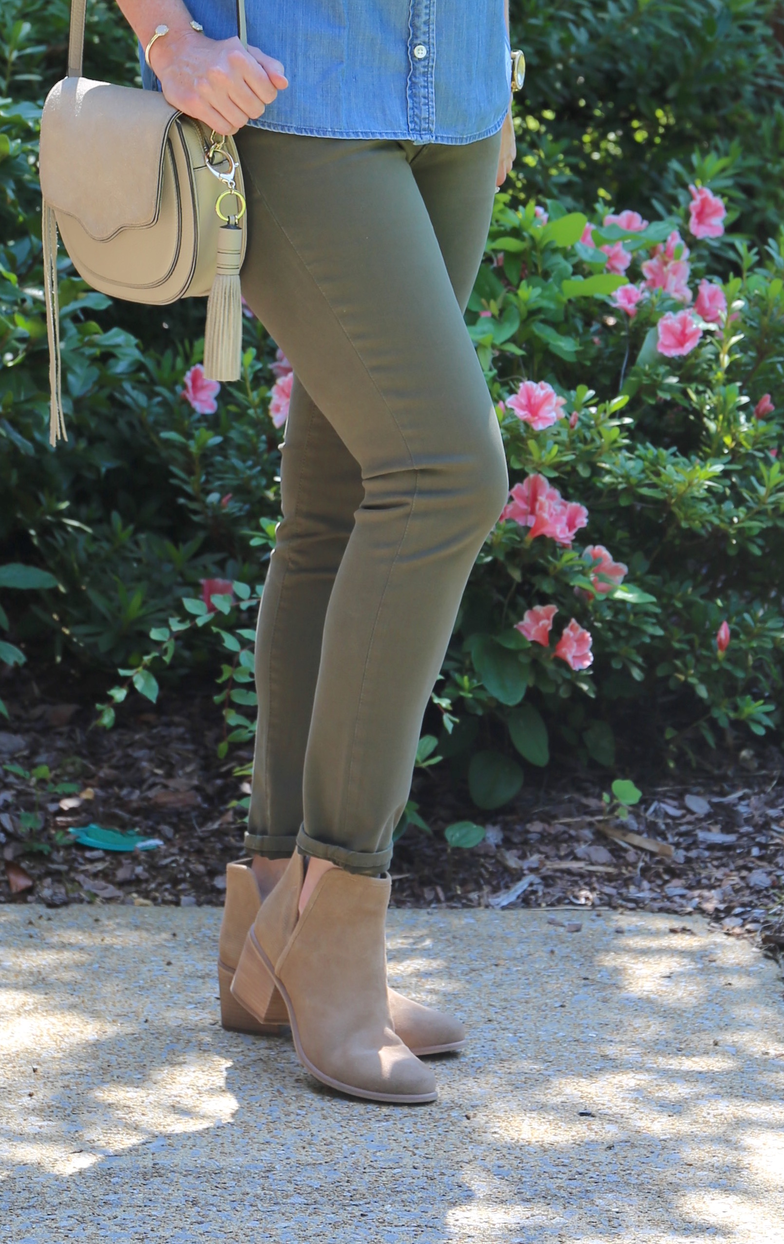 Chambray and Olive Jeans 6