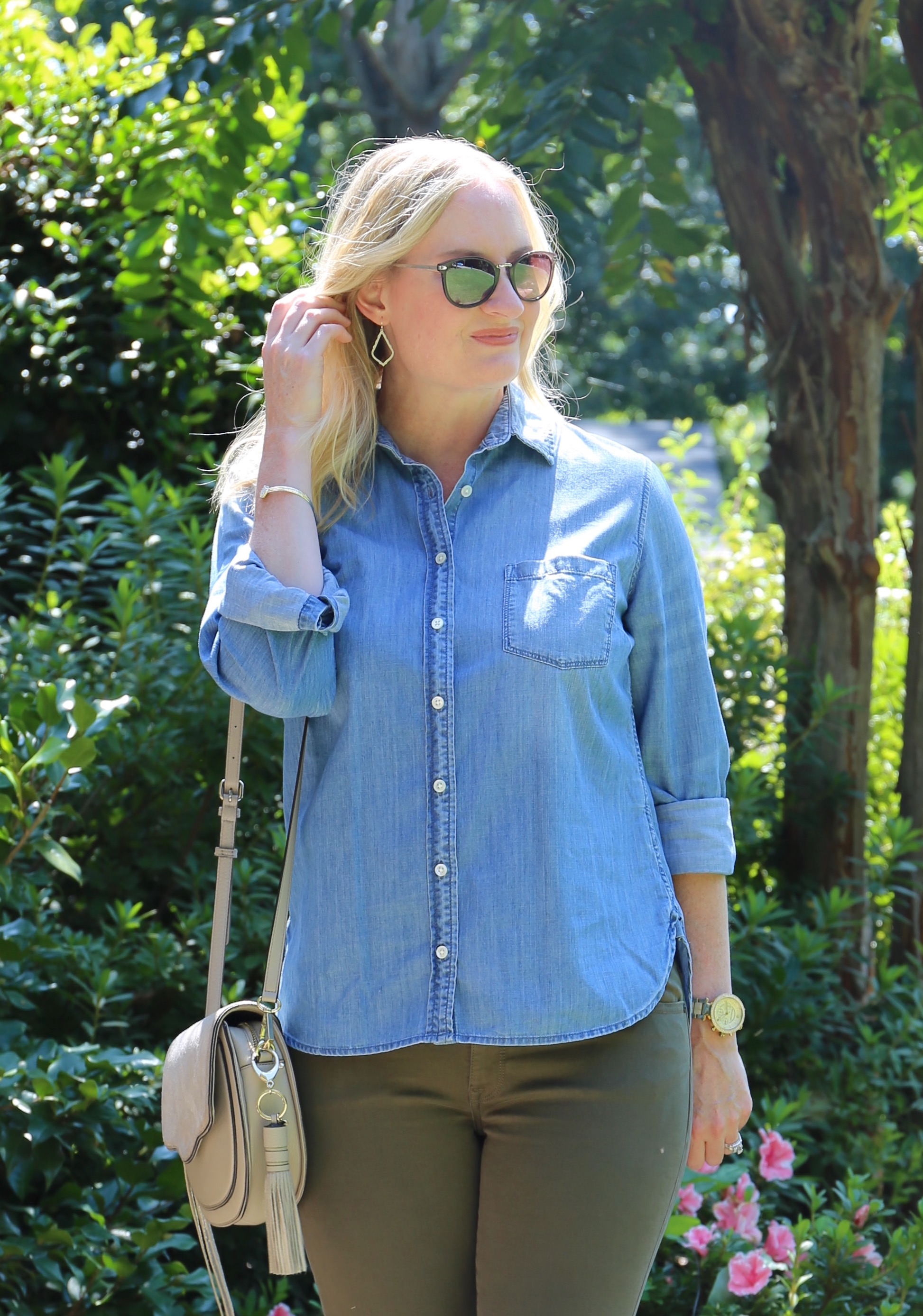 Chambray and Olive Jeans 7