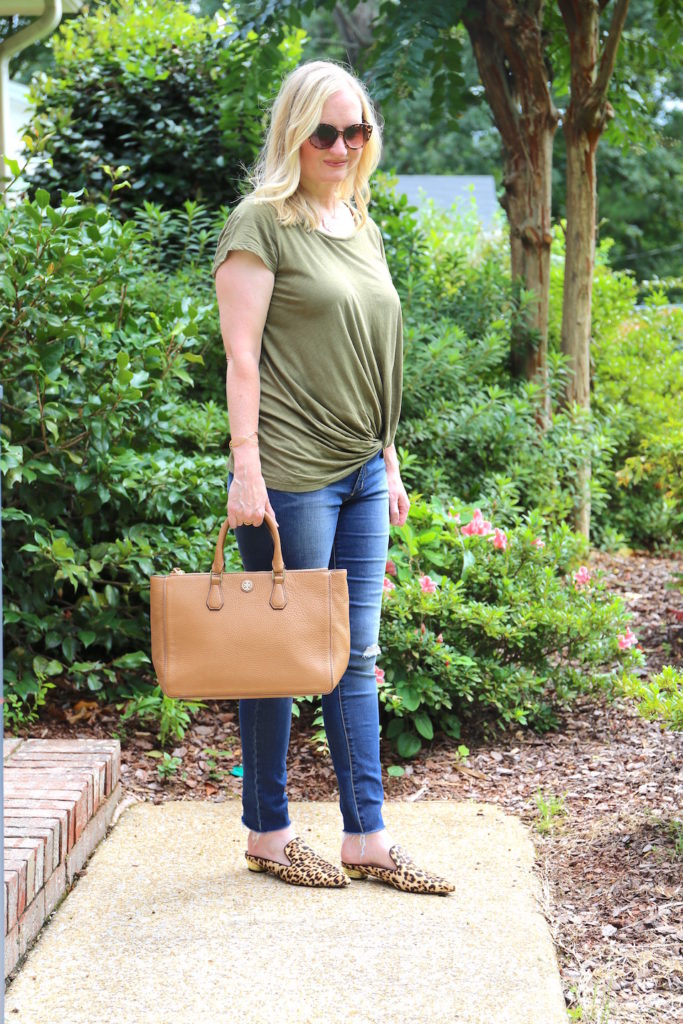 Olive and Leopard Mules