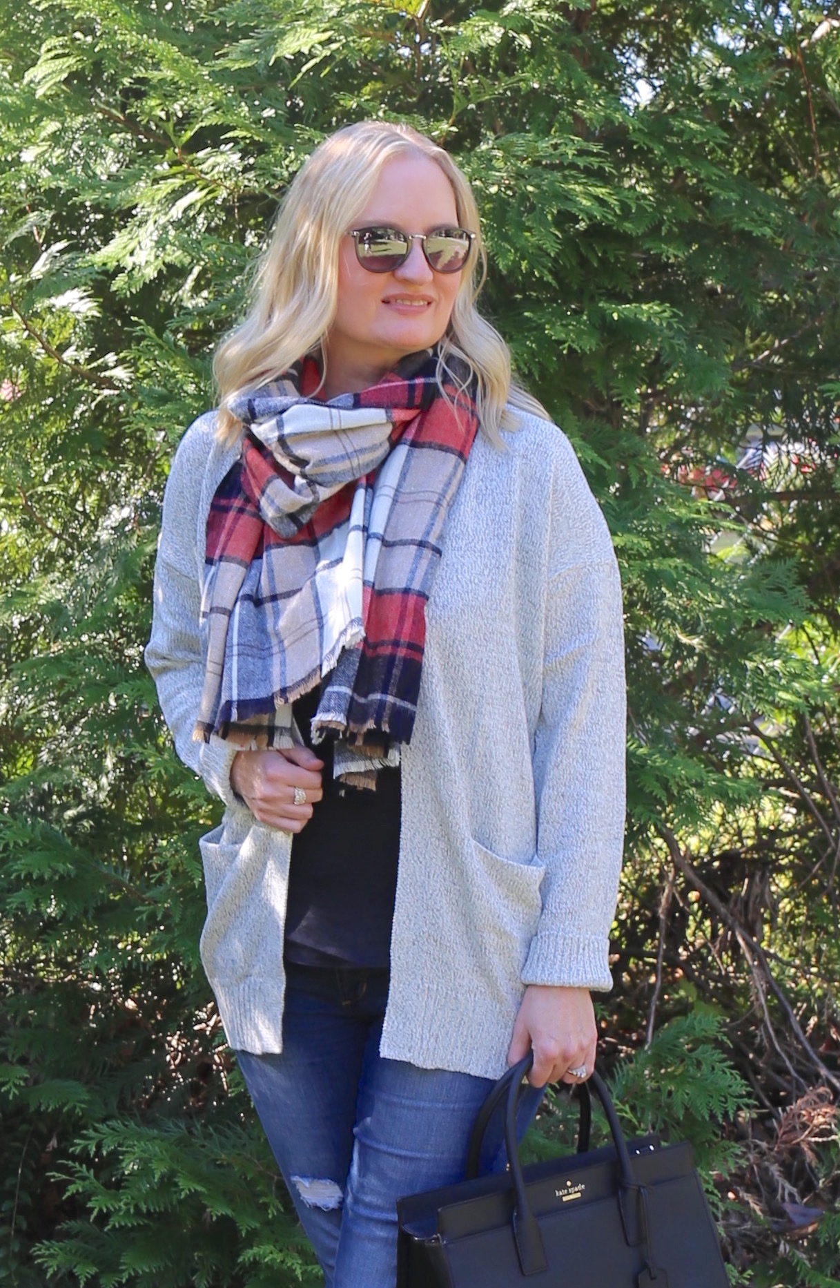 Black Gray and Pop of Plaid