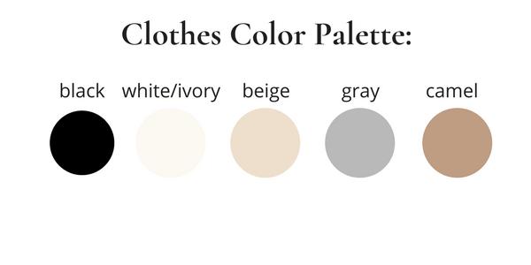 French Minimalist Winter Capsule Wardrobe 2018 Color Palette