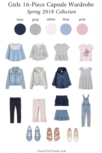 Girls 16-Piece Capsule Wardrobe: Spring 2018