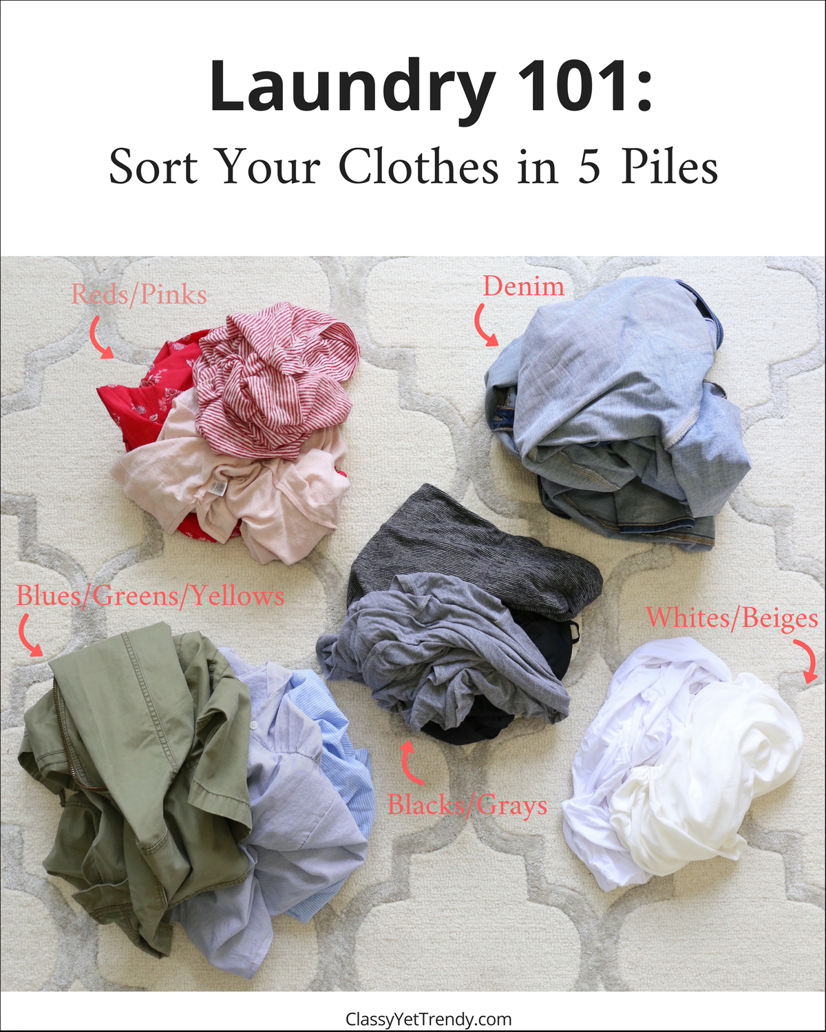Laundry 101 - Sort your Clothes in 5 Piles